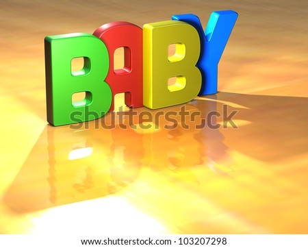 Word Baby on yellow background (high resolution 3D image)