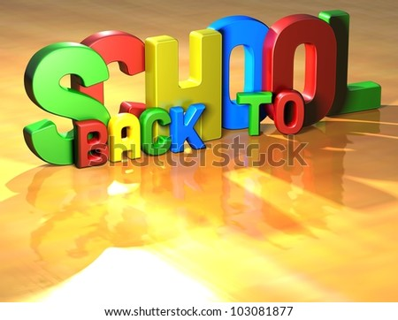 Word Back To School on yellow background (high resolution 3D image)