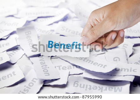 Word benefit in hand, business concept