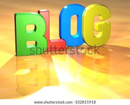 Word Blog on yellow background (high resolution 3D image)