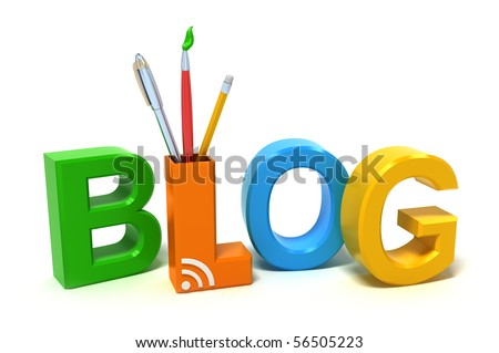 Word Blog with colourful letters.  3D concept on white background.