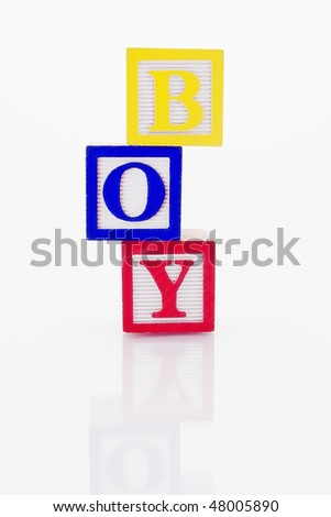 Word Boy in wooden blocks