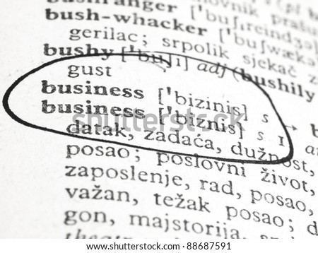 word business in the dictionary