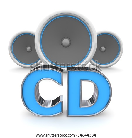 word CD with three speakers in background - blue style
