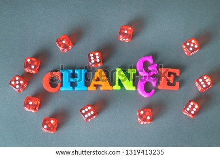 Word Chance and red dice on the dark background.  #1319413235
