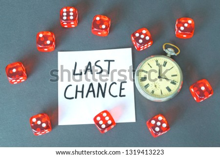 Word Chance, retro watch and red dice on the dark background.  #1319413223
