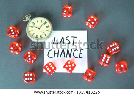 Word Chance, retro watch and red dice on the dark background.  #1319413226