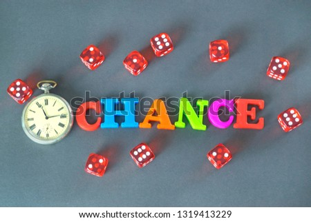 Word Chance, retro watch and red dice on the dark background.  #1319413229