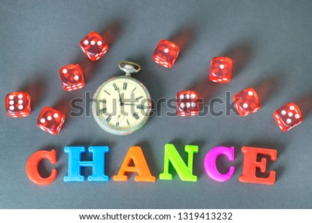 Word Chance, retro watch and red dice on the dark background.  #1319413232