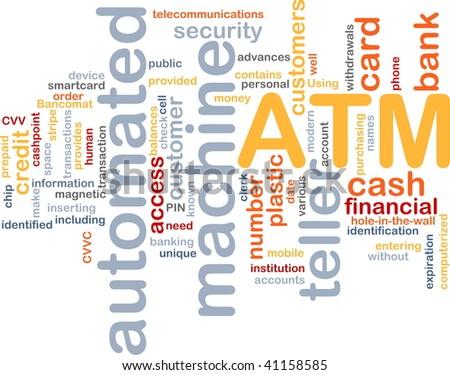 Word cloud concept illustration ATM Automated Teller Machine