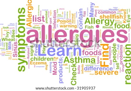 Word cloud concept illustration of  allergies symptoms