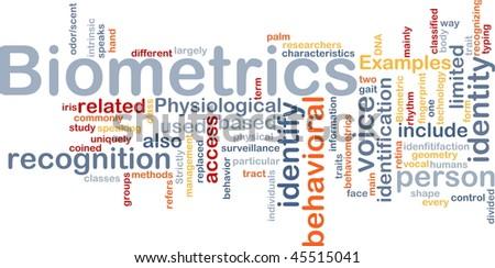 Word cloud concept illustration of biometrics recognition - stock photo