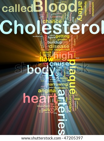Word cloud concept illustration of  blood cholesterol glowing light effect