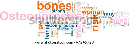 Word cloud concept illustration of  bone osteoperosis
