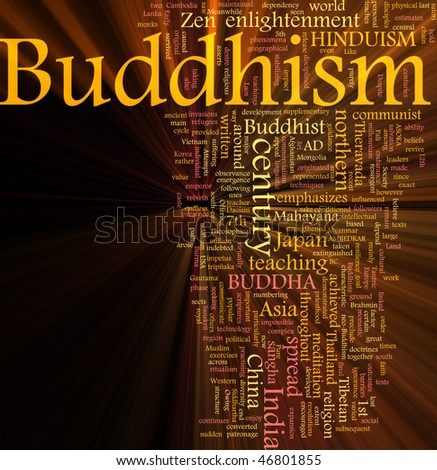 Word cloud concept illustration of  Buddhism religion glowing light effect