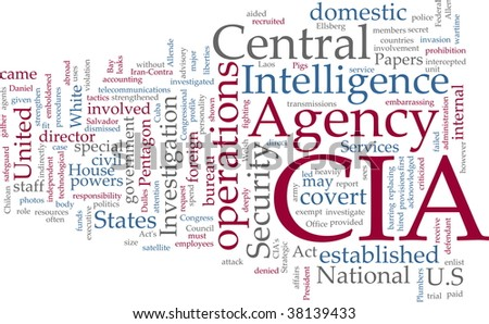 Word cloud concept illustration of  CIA Central Intelligence Agency