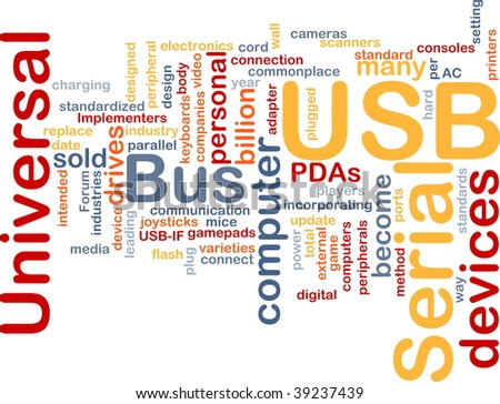 Word cloud concept illustration of computer USB