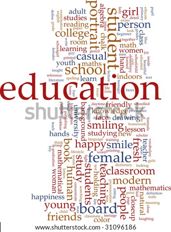 Word cloud concept illustration of education studies - stock photo