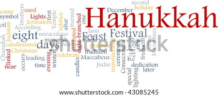 Word cloud concept illustration of Hanukkah Jewish celebration