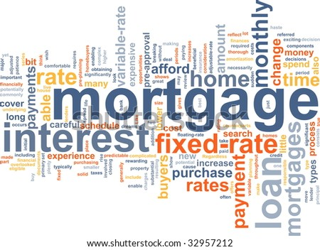 Word cloud concept illustration of  house mortgage - stock photo
