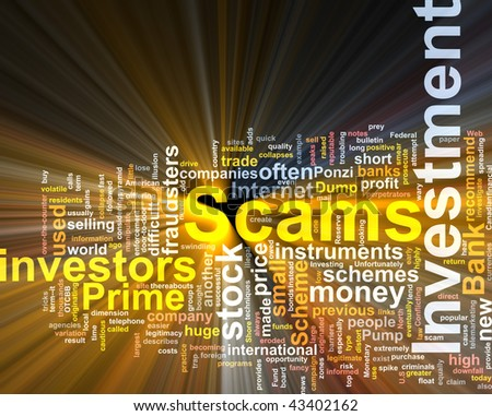 Word cloud concept illustration of  Investment scams glowing light effect