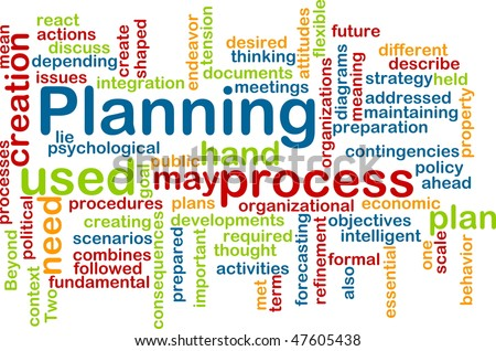 Word cloud concept illustration of planning process