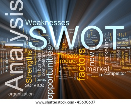 Word cloud concept illustration of SWOT Analysis glowing light effect