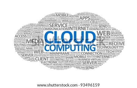 Word cloud conceptual illustration on cloud computing theme. Isolated on white.