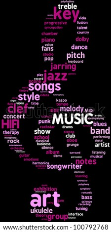 Word cloud illustration treble clef - shaped on black background / Treble clef tag cloud illustration for Music concept