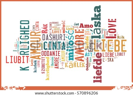 Word Cloud 'Love' in different Languages Stock fotó ©