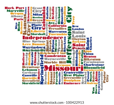 word cloud map of Missouri state