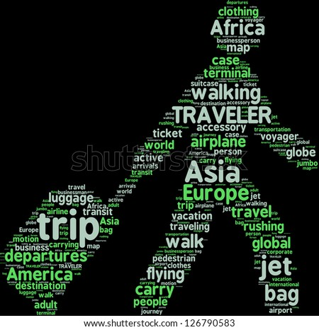 word cloud pictogram of a man walking with travel bag