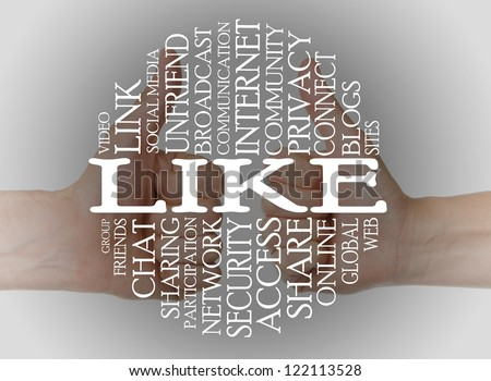 Word cloud social media with a thumbs up background