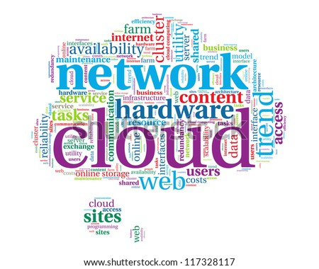 Word cloud, tag cloud text business concept. Cloud silhouette with the words on the topic of Cloud computing concept. Word collage.