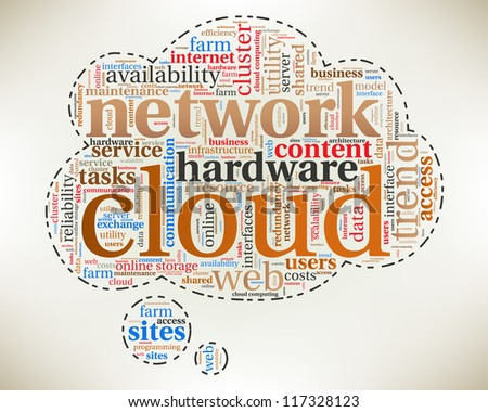 Word cloud, tag cloud text business concept. Cloud silhouette with the words on the topic of Cloud computing concept. Word collage