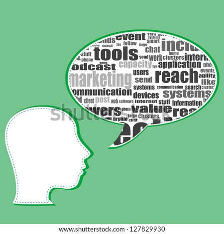 Word cloud, tag cloud text business concept. Head silhouette with social words, raster