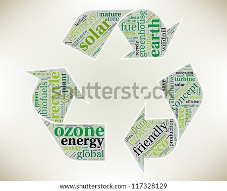 Word cloud, tag cloud text business concept. Recycle silhouette sign with the words on the topic of recycling, friendly, eco, environment. Word collage.
