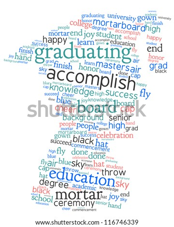 Word cloud, tag cloud text concept and arrangement  for graduation day. Word collage.
