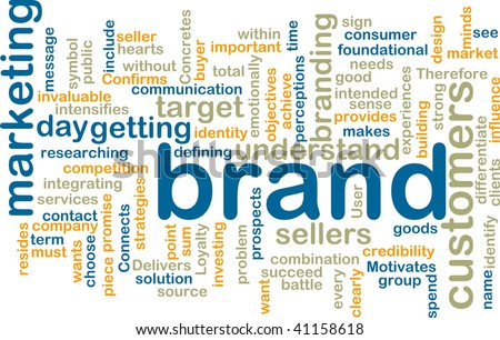 Word cloud tags concept illustration of brand marketing