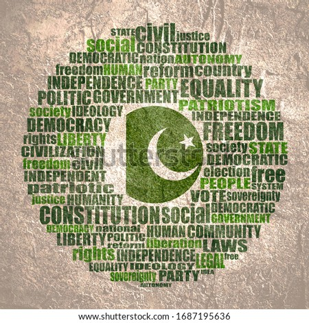 Word cloud with words related to politics, government, parliamentary democracy and political life. Flag of the Pakistan. ストックフォト ©