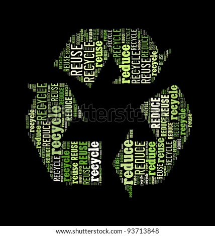 Word collage in the shape of recycle sign