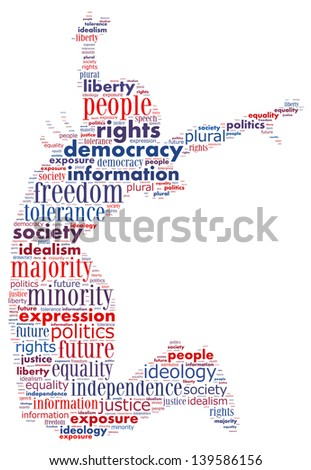 Word collage of democracy concept