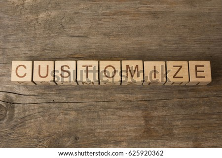 word customize on cubes on wooden background ストックフォト ©
