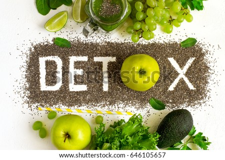 Word detox is made from chia seeds. Green smoothies and ingredients. Concept of diet, cleansing the body, healthy eating.