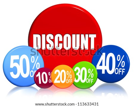 word discount and different percentages in 3d colorful circles