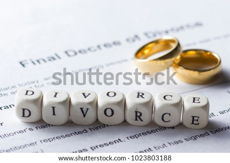 Word - Divorce made up of wooden letters on the table with wedding rings #1023803188