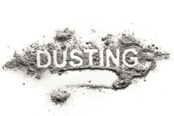 Word dusting written in accumulated pile of grey dirt, filth, dust, ash, soil as cleaning, sweep, sweeping, clean, filthy, dirty, hygiene concept background