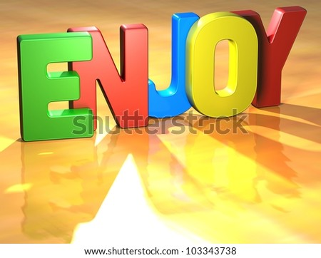 Word Enjoy on yellow background (higj resolution 3D image)