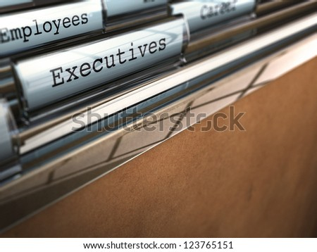 word executive written on a folder with perspective view and blur effect