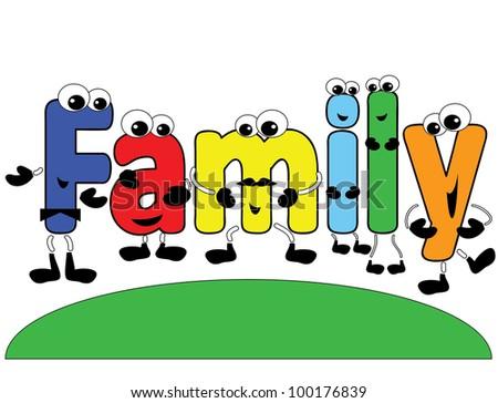"""Word """"Family"""" ,cartoon."""